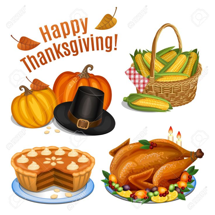 Set of cartoon icons for thanksgiving dinner, roast Turkey, pump